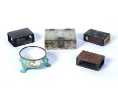 Group of pieces including an enamel salt, a shagreen small box, 8cm across, and three various