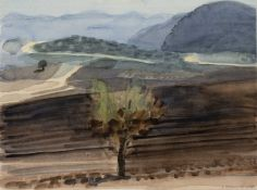 David Parfitt (b.1943) 'Untitled landscape with tree' watercolour, signed and dated 1989 in pencil