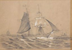 H Elwes (English School) H M Brig Pilot, and two other similar shipping studies, charcoal with