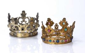 Two gilt metal crowns one possibly Spanish, one by repute sold to the vendor as circa 1580, the
