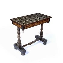 Rosewood Anglo-Indian table, 19th Century, the top with ivory inlay of floral designs, crossbanded