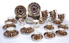 Collection of Royal Crown Derby Imari pattern including tea cups, coffee cans and saucers, various