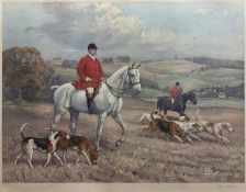 After Alfred Grenfell Haigh (1870-1963) Huntsmen and hounds, coloured print, signed in pencil,