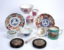 Collection of ceramics to include two pot lids, two Japanese imari dishes, an imari bowl and other
