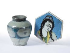 Qajar hexagonal tile Iran, with a woman's head, 19.5cm and Persian fritware jar imitating a Ming
