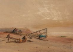 John Thorpe (act. 1834-1873) Resting on a broken mast and looking out to sea, watercolour, signed