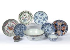 Group of Chinese and Japanese ceramics to include three 18th/19th-century blue and white plates, a