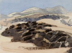 David Parfitt (b.1943) 'Untitled hill landscape' watercolour, signed and dated 1989 in pencil