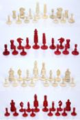 Ivory chess set 19th Century, in a mahogany case and various other chess pieces, largest 8cm