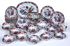 Amherst Japan pattern part tea and coffee set Staffordshire 19th Century, including a muffin dish,