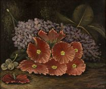 Oliver Clare (1853-1927) 'Still life study of purple and red flowers' oil on panel, signed lower