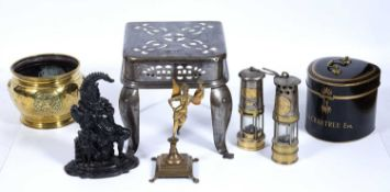 Group of metalware including a tin wig case marked A A Crabtree Esq, two miners lamps, one marked