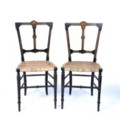 Pair of Aesthetic ebonised salon chairs 19th Century, with amboyna inlay, 40cm wide x 85cm