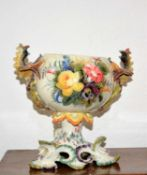 Nove bonbonniere Italian, with mythical dragon handles, painted to the body with floral splays,