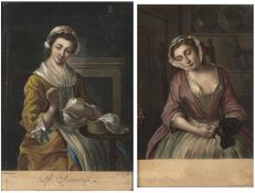 After Philip Mercier (1689-1760) coloured engravings, The Seamstress and Girl Asleep, 34.5cm x