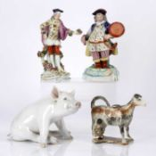 Collection of ceramics consisting of: a Royal Copenhagen model of a pig 16.5cm high, continental