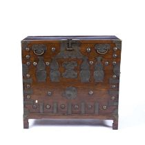 Large Korean elm linen chest with metal mounts and carrying handles fall front, and having fitted