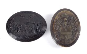 Two horn snuff boxes by John Obrisset the first an 18th Century pressed horn snuff box of oval