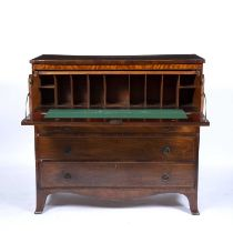 Mahogany and crossbanded secretaire chest 19th Century, fitted writing drawer with dummy front and