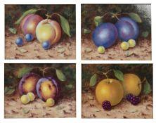 Francis Clark Four possibly Worcester porcelain painted panels on still life fruit in gilt frames,