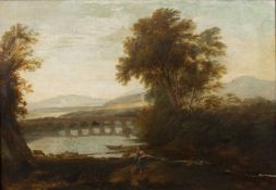 After Claude Lorrain (1600-1682) An Italianate landscape, oil on canvas, 45cm x 66cmCondition