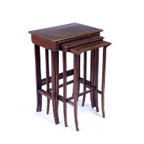 Mahogany and brass inlaid quartetto of tables late 19th/early 20th Century, largest 51cm x 36cm x