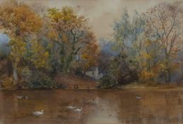 Vincent R. Balfour Browne (1880-1963) 'Untitled house by river and geese' watercolour, initialled