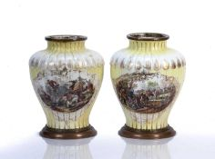Pair of Russian porcelain vases attributed to Gardner Factory hand-painted to the body depicting