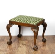 Georgian style mahogany stool on ball and claw feet with tapestry seat, 59cm x 48cm x