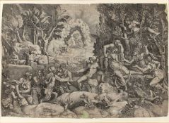 After Battista Franco (1498-1561) The Adoration of the Maji, etching, 30cm x 45cm and one other