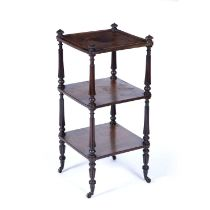 Rosewood Gillows style three tier whatnot 19th Century, with reeded columns and finials on