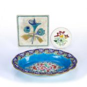 Longwy Pottery Arts & Crafts tile with printed manufacturer's marks, a Longwy bowl, 34cm diameter