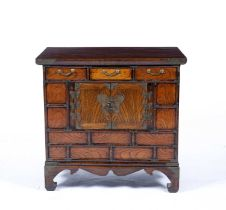 Small Korean elm chest with drawers and cupboards, and with metal mounts, 57cm wide x 40cm deep x