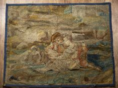 Flemish tapestry 18th Century, depicting a lake landscape with lovers holding a bowl of fruit, 150cm