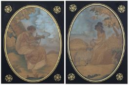 Pair of oval silkwork studies circa 1800, depicting Music and Harmony, with verre eglomise mounts