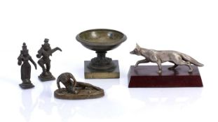 Group of Grand Tour and other pieces including a silver plated model fox, 15cm across, a bronze