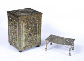 Embossed brass log bin of rectangular form with Italianate decoration, 41cm across, 55.5cm high