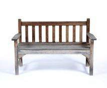Teak garden bench by R A Lister of Dursley, 18cm acrossCondition report: Generally good but some