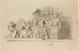 John Nixon (1755-1818) 'A group of figures' watercolour, unsigned, 10cm x 15cmCondition report: At