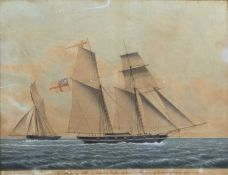 Jacob Peterson (1774-1884/5) 'The Royalist Cutter and Therese Sch R.Y.S in company off the Naze of