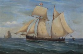 19th Century English School A sailing barge rounding a buoy, oil on canvas, unsigned, 25cm x 38cm