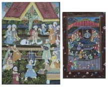 Indian school Figures meeting around a raised dais, watercolour and body-colour, within gilt