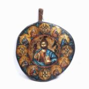 An old Greek olive wood circular 'chopping board' icon depicting Christ and the Twelve Apostles,