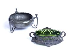 An Art Nouveau English pewter three handled oblate bowl, 19cm diameter and a Continental pierced