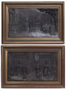A pair of 19th century French pressed bronzed metal plaques depicting figures in a formal garden and