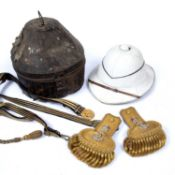 A pair of early 20th century naval officer's epaulettes, together with gilt faced sword belt, the