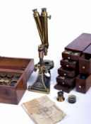 A 19th Century Binocular/Monocular microscope by Smith, Beck and Beck, with original wooden case and