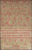 A needlework sampler worked by Emma Barclay woven with alphabet, numerals and prose, dated 'Caboots,