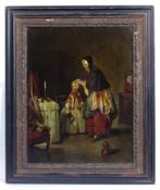 A 19th century reverse glass print of a mother and child in an interior in ebonised frame with