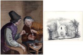 Continental school (19th century) Two pipe smokers in a tavern interior, watercolour, 16 x 12.5cm;